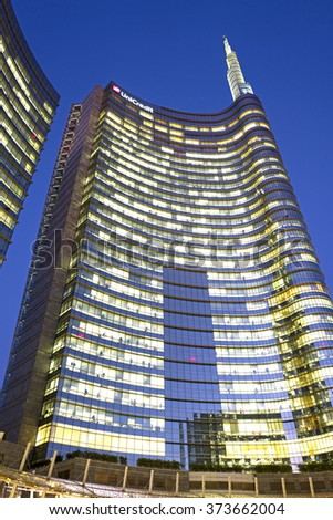 MILAN, ITALY-FEBRUARY-04, 2016: night office lights on the modern building Unicredit tower on the new Gae Aulenti's square, in Milan.