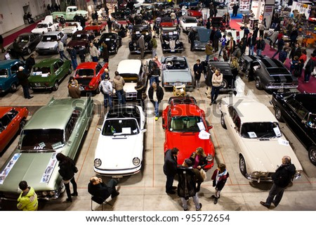 MILAN, ITALY - FEBRUARY 19: Panoramic view at Milano AutoClassica, the classical and sporting car show in Milan on February 19, 2012