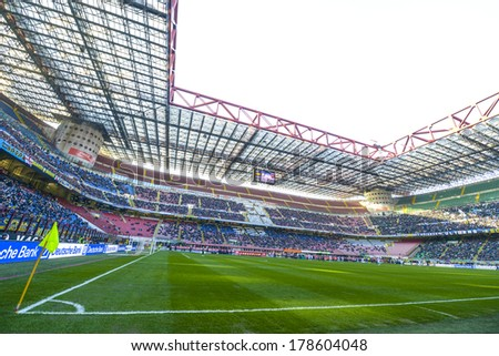 MILAN, ITALY-FEBRUARY 23, 2014: Panoramic view of the San Siro stadium during the Italian Serie A soccer match FC Internazionale vs Cagliari.