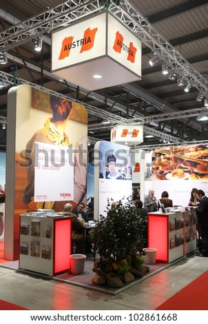 MILAN, ITALY - FEBRUARY 16: People visit Austria tourism exhibition area at BIT, International Tourism Exchange Exhibition on February 16, 2012 in Milan, Italy.