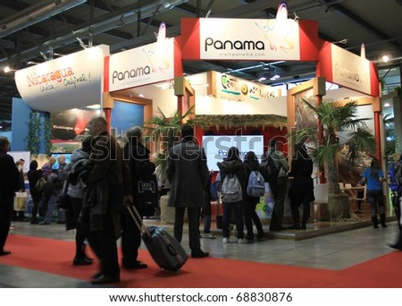 MILAN, ITALY - FEBRUARY 20: People visiting Panama tourism stand at BIT, International Tourism Exchange Exhibition February 20, 2010 in Milan, Italy.