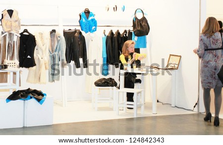 MILAN, ITALY - FEBRUARY 26: Selling accessories and fashion products during Milano women's Prêt-à-porter collections fashion week February 26, 2010 in Milan, Italy.