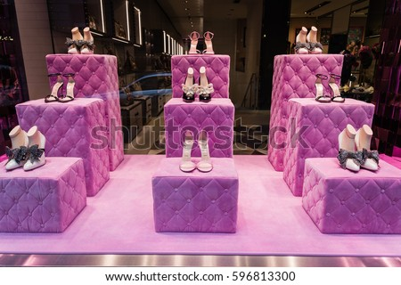 Milan, Italy - February 28, 2017: Shop window of a Gucci shop in Milan - Montenapoleone area, Italy. Few days after Milan Fashion Week. Gucci Shoes Spring Summer 2017 Collection.