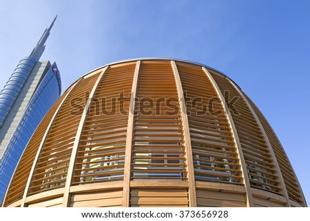 MILAN, ITALY-FEBRUARY-04, 2016: the modern buildings Unicredit pavilion and Unicredit tower on the new Gae Aulenti's square, in Milan.