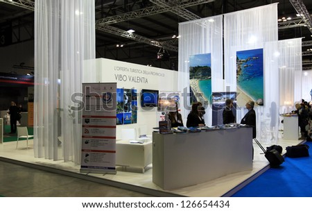 MILAN, ITALY - FEBRUARY 17: Visiting Italian regional pavilion tourism exhibition area at BIT, International Tourism Exchange Exhibition on February 17, 2011 in Milan, Italy.