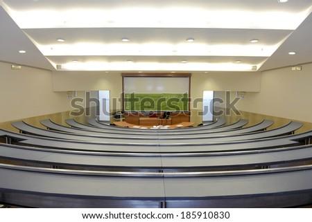 MILAN, ITALY- JANUARY 13, 2012: Bocconi University's classroom before a graduation exam, in Milan. - stock photo