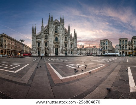 MILAN, ITALY - JANUARY 2, 2015: Milan Cathedral (Duomo di Milano) and Piazza del Duomo in Milan, Italy. Milan's Duomo is the second largest Catholic cathedral in the world.