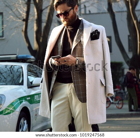 MILAN, Italy- January 13 2018: Niccolo' Cesari on the street during the Milan Fashion Week.