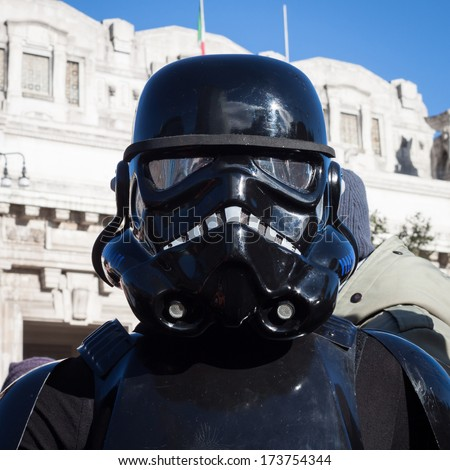MILAN, ITALY - JANUARY 26: People of 501st Legion, official costuming organization, take part in the Star Wars Parade wearing perfectly accurate costumes on JANUARY 26, 2013 in Milan.