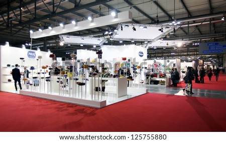 MILAN, ITALY - JANUARY 24: People visit home architecture and interior design exposition at Macef, International Home Show Exhibition on January, 24 2013 in Milan, Italy. - stock photo