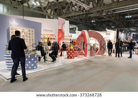 MILAN, ITALY - JANUARY 30: People visit HOMI, home international show and point of reference for all those in the sector of interior design on JANUARY 30, 2016 in Milan.