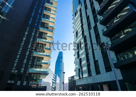 Milan, Italy - January 24 2015: Porta Nuova, the Residential  Towers and the Diamond Tower in the background