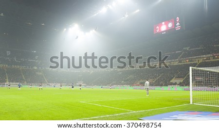 MILAN, ITALY-JANUARY 31, 2016: soccer teams at the san siro stadium during the italian serie a match AC Milan vs FC Internazionale, in Milan.