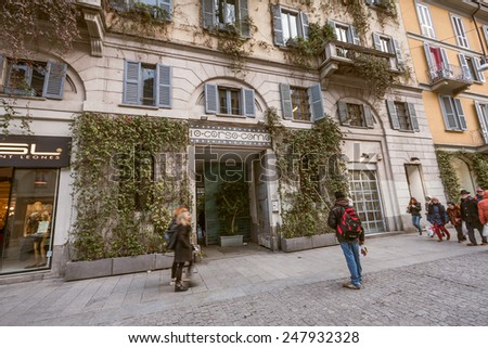 "MILAN, ITALY - JANUARY 26, 2015: View of the famous shop ""Corso Como 10"" in Milan, Italy - stock photo"