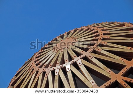 MILAN, ITALY - JULY 25: Architectural detail of a modern building at Expo, universal exposition on the theme of food on July 25, 2015 in Milan. - stock photo