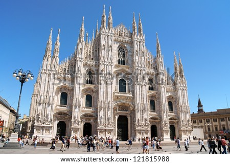 MILAN, ITALY - JULY 19: Gothic facade of Milan Cathedral in Piazza del Duomo on July 19, 2009 in Milan, Italy. It is the fourth largest church in the world and the largest in Italy.