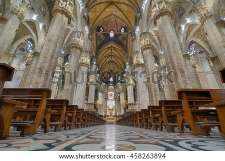 MILAN, ITALY -  JULY 1, 2016: Interior of the Milan Cathedral in Milan, Italy