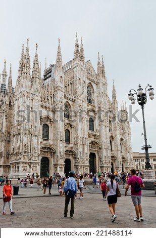 MILAN, ITALY - JULY 20 2014: Milan Cathedral, Duomo at Piazza del Duomo. Lombardy, Italy. Milan's Duomo is the fourth largest Catholic cathedral in the world and the largest in Italy. - stock photo