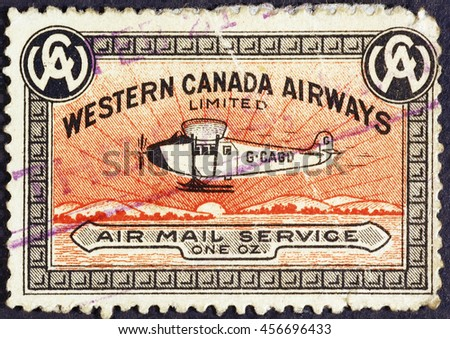 MIlan, Italy - July 21, 2016: Old canadian postage stamp for air mail service