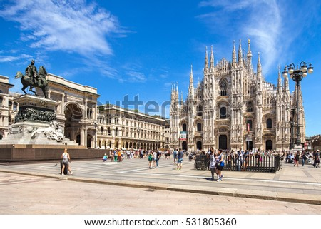 Milan, Italy - July 16, 2016: Piazza Duomo square in Milan, Italy