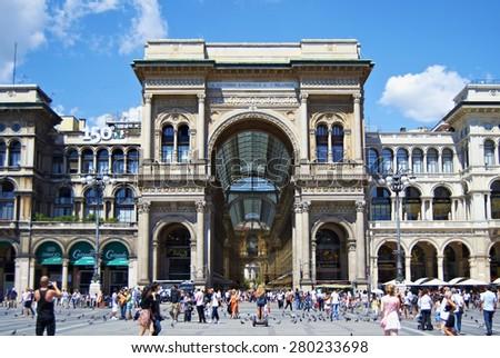 Milan, Italy -  July 29th, 2011: Victor Manuel II Gallery Milan, Italy - stock photo