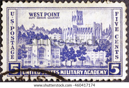 Milan, Italy - July 19, 2016: Westpoint Academy on vintage american postage stamp