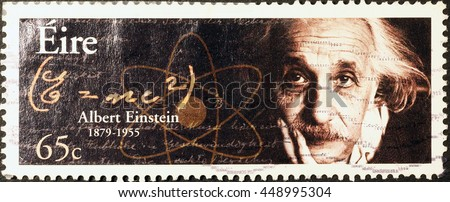 Milan, Italy - June 17, 2016: Albert Einstein on irish postage stamp