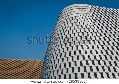 MILAN, ITALY - JUNE 5: Architectural detail of a modern building at Expo, universal exposition on the theme of food on JUNE 5, 2015 in Milan. - stock photo