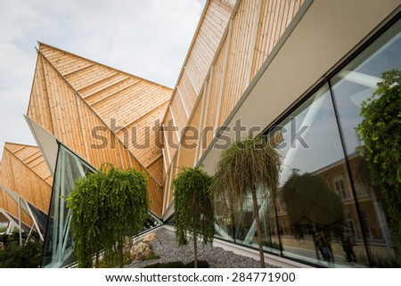 MILAN, ITALY - JUNE 1: Architectural detail of Slovenia pavilion at Expo, universal exposition on the theme of food on JUNE 1, 2015 in Milan. - stock photo