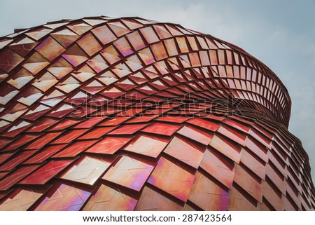 MILAN, ITALY - JUNE 12: Architectural detail of Vanke pavilion at Expo, universal exposition on the theme of food on JUNE 12, 2015 in Milan. - stock photo