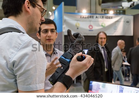 MILAN, ITALY - JUNE 7, 2016: Artificial hand on display at Technology Hub, international event for innovative and futuristic technologies serving business.