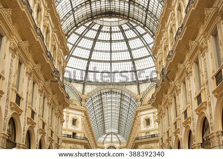 Milan, Italy- June 13, 2016. Detail of the amazing glass and iron roof of the Galleria Vittorio Emanuele II, one of the  oldest shopping malls in the world.
