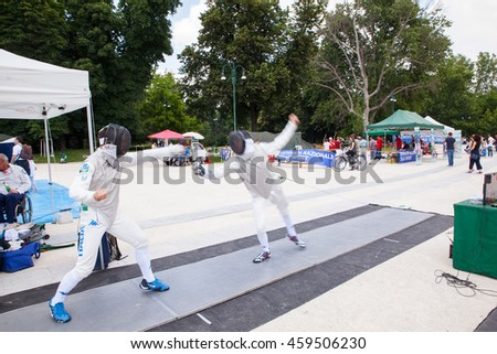 MILAN, ITALY - JUNE, 04: Fencing players in action during a demonstration on June 04, 2016