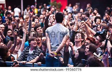 MILAN, ITALY - JUNE 10: Fine Before You Came frontman performs live at Mi Ami music festival in front of an enthusiastic audience in Milan on June 10, 2011.