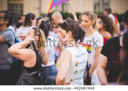 MILAN, ITALY - JUNE 25: gay pride parade in which thousand of people took the street to protest for their legal rights on June 25, 2016 in Milan