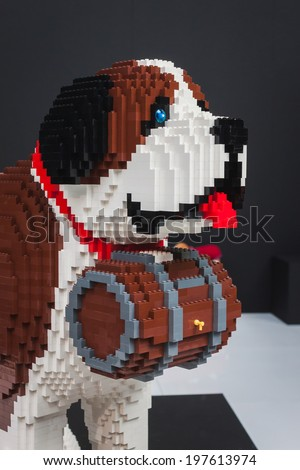 MILAN, ITALY - JUNE 7: Lego dog on display at Quattrozampeinfiera, event and activities dedicated to dogs, cats and their owner on JUNE 7, 2014 in Milan. - stock photo