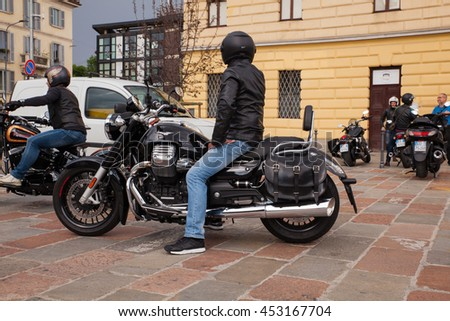 MILAN, ITALY - JUNE, 05: Motorcyclist on his harley davidson on June 05, 2016
