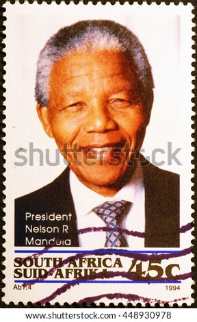 Milan, Italy - June 18, 2016: Nelson Mandela on south african postage stamp - stock photo