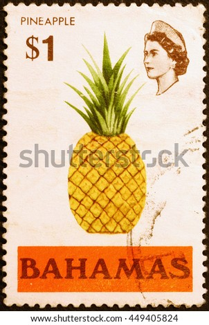 Milan, Italy - June 18, 2016: Pineapple on postage stamp of Bahamas