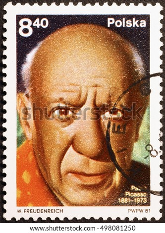 Milan, Italy - June 16, 2016: Portrait of Pablo Picasso on polish postage stamp