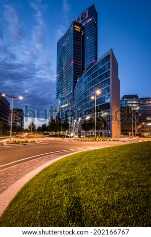 Milan, Italy june 30 2014: Regione Lombardia Palace , night scene, Milan, Italy, june 30 2014