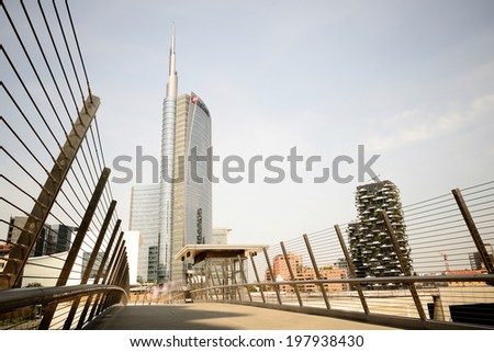 MILAN, ITALY - june 06 2014: The new Porta Garibaldi area with its futuristic skyscrapers is finally open to visitors and ready for Expo on june 06, 2014 in Milan.