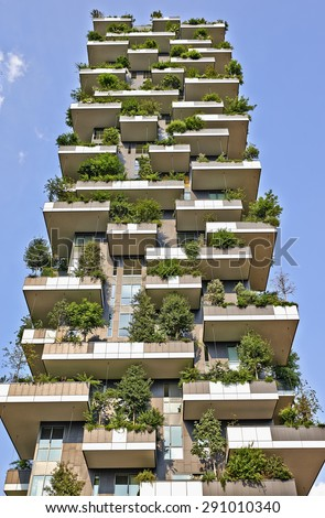 """MILAN, ITALY- JUNE 11, 2015: Vertical Forest apartment building in the Porta Nuova area of Milano, Lombardy, Italy also called """"Bosco Verticale"""" and winner for 2014 of the International Highrise Award - stock photo"""