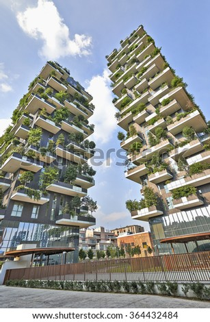 MILAN, ITALY- JUNE 11, 2015: Vertical Forest apartment building in the Porta Nuova area of Milano, Lombardy, Italy also called Bosco Verticale and winner for 2014 of the International Highrise Award. - stock photo