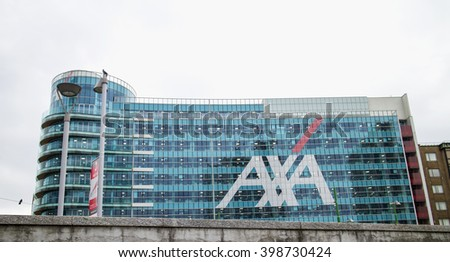 MILAN, ITALY - MARCH 30, 2016: Axa Palace in Milan. Futuristic building was build in the Porta Nuova urban redevelopment project in 2014. Axa is one of premiere brand of insurance in Italy.  - stock photo