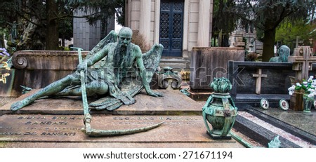 MILAN , ITALY - MARCH 25, 2015: Beautiful Sculpture at Milan Cemetery (Cimitero Monumentale) in Milan