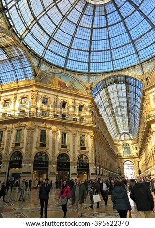 MILAN, ITALY - MARCH 01, 2016: Ceiling and glass dome at Galleria Vittorio Emanuele II, which is one of the world's oldest shopping malls, housed within a four-story double arcade in central Milan. - stock photo