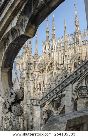 MILAN, ITALY - MARCH 20, 2015: Elements and constructions of Duomo Cathedral