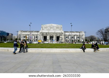 MILAN, ITALY-MARCH 23, 2015: historical building facade of the Central train station, in Milan.