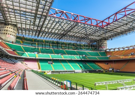 MILAN,ITALY - MARCH 27, 2015: Meazza stadium in Milan.In Meazza stadium,also known as San Siro stadium, play two soccer teams: Milan AC and Inter. - stock photo